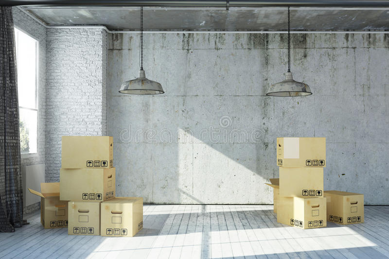 3D rendered empty apartment in industrial style with moving boxes royalty free illustration