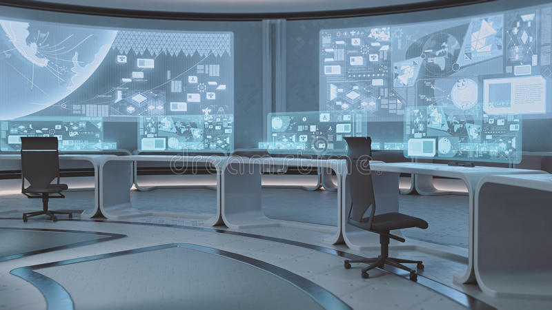 3D rendered empty, modern, futuristic command center interior. Rendered modern command center in blue colors royalty free illustration