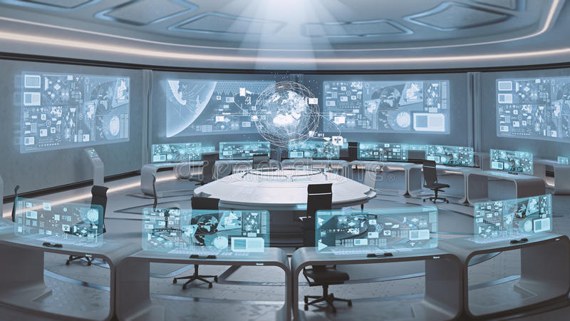 3D rendered empty, modern, futuristic command center interior. Rendered modern command center in blue colors stock illustration