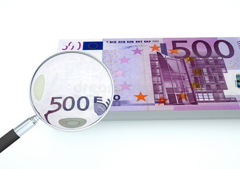 3D Rendered Euro money with magnifier investigate currency isolated on white background. 3D Rendered currencies from Europe Magnifier isolated on white royalty free stock images