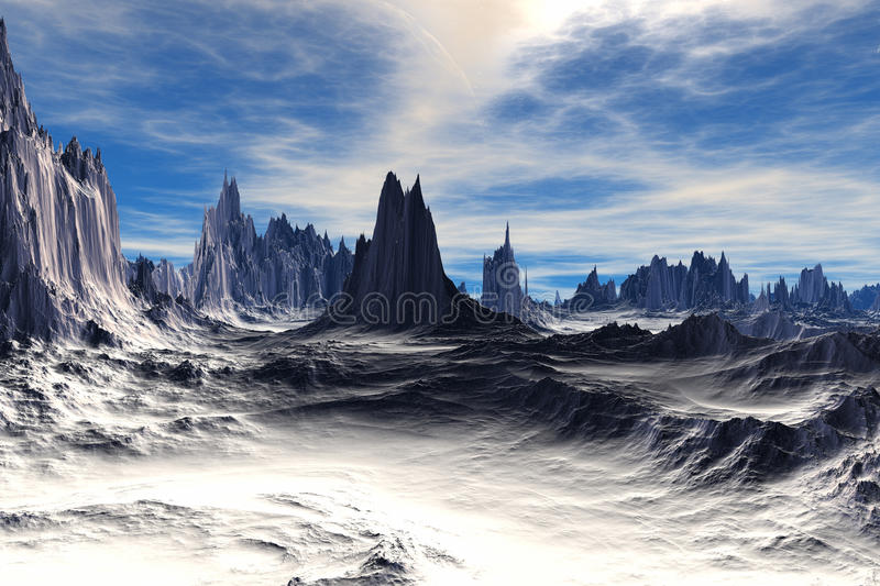 3D rendered fantasy alien planet. Rocks and sky royalty free illustration