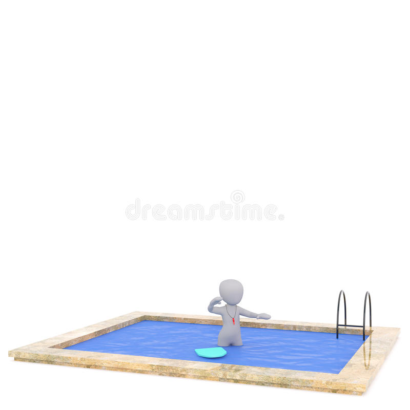 3D rendered figure stands in ground pool. While wearing a red whistle beside a float royalty free illustration