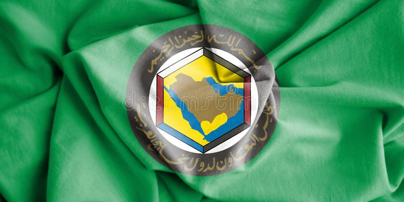 Flag of Cooperation Council for the Arab States of the Gulf GCC. 3d Rendered Flag of Cooperation Council for the Arab States of the Gulf GCC stock illustration