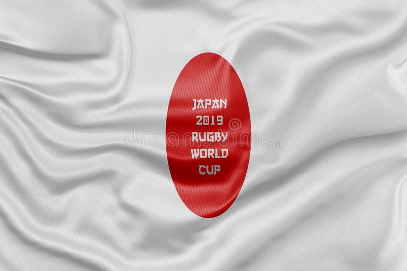 3D Rendered flag for the Japan 2019 Rugby World Cup. stock illustration