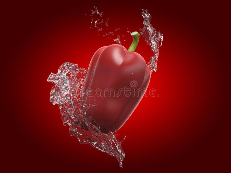 A bell pepper and a water splash. 3d rendered food illustration of a bell pepper and a water splash stock illustration