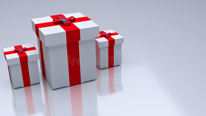 3d rendered gifts. 3d rendered colorful gift boxes kept on a white background vector illustration