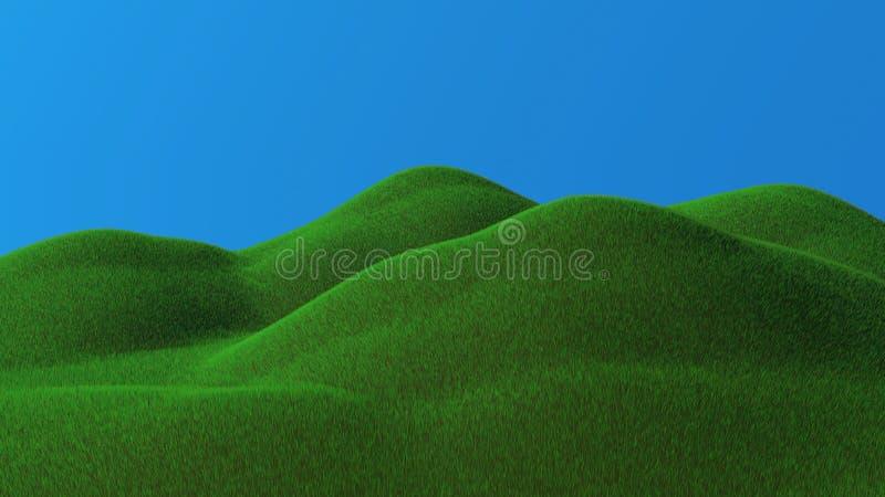 3D rendered green hills. 3D rendered illustration of green hills landscape vector illustration