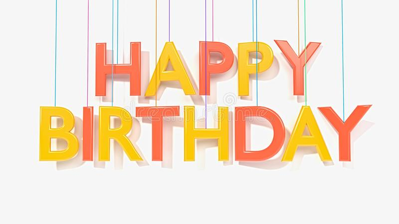 3d rendered happy birthday text. 3d rendered hanging happy birthday text in a white background stock illustration