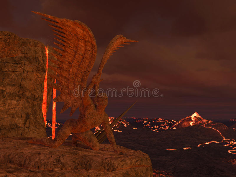 3D rendered hell. 3D rendered illustration of hell scene with lava and statues of fallen angels vector illustration