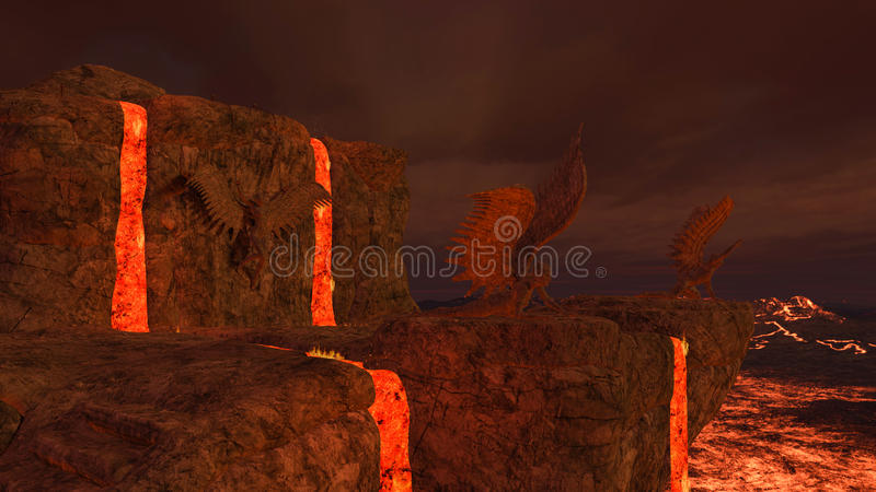3D rendered hell. 3D rendered illustration of hell scene with lava and statues of fallen angels stock illustration