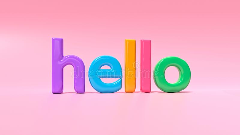 3d rendered hello text. 3d rendered colorful hello text royalty free illustration
