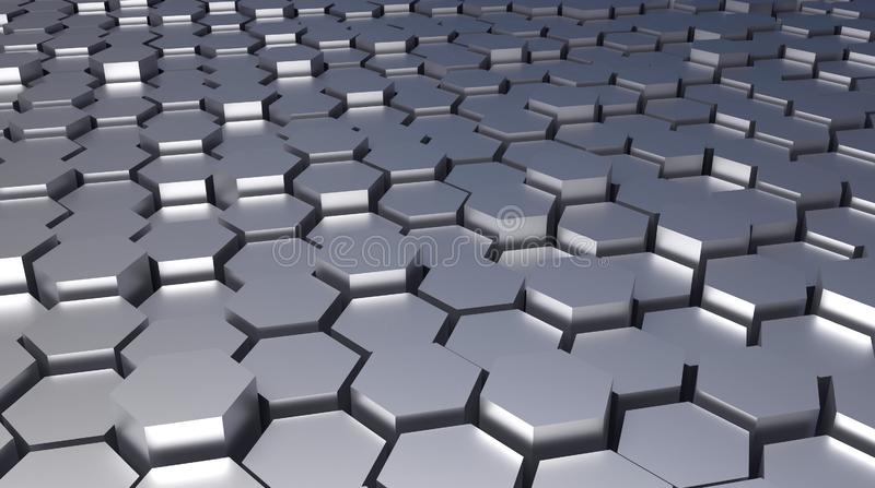 3d rendered Hexagonal abstract metal architectural background royalty free illustration