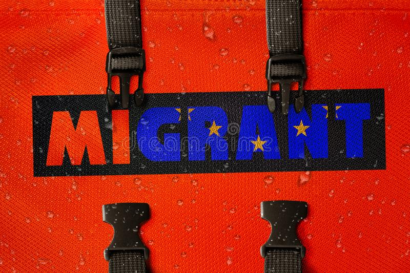 3D rendered idea for migrants crossing the Mediterranean and gaining access into the EU. 3D rendered orange lifejacket with the word Migrant with flag royalty free illustration