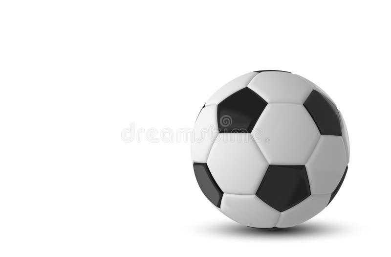 3d rendered illustration of black and white soccer ball on white background.  stock illustration