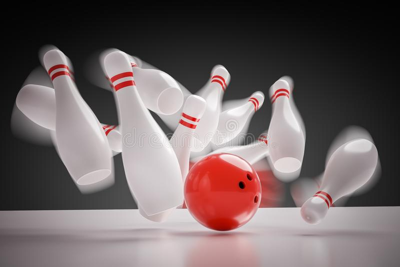 3D rendered illustration of bowling ball knocking down all pins - strike. Motion blur.  royalty free illustration