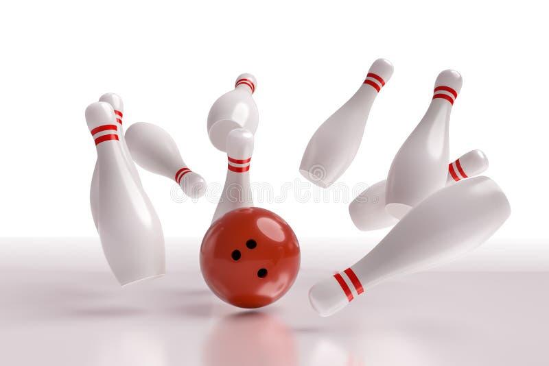 3D rendered illustration of bowling ball knocking down pins Strike. White background.  stock illustration