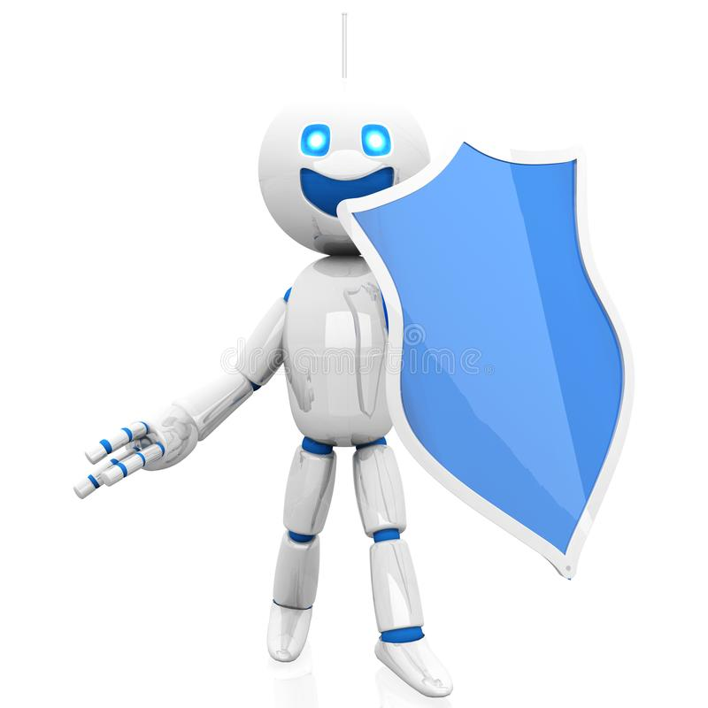 Cartoon Robot defending with a shield. 3D rendered Illustration of a Cartoon Robot defending with a shield.r royalty free illustration
