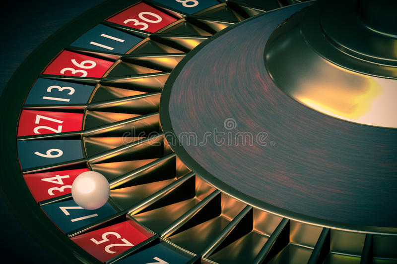 3D rendered illustration of casino roulette. Gambling concept.  royalty free illustration