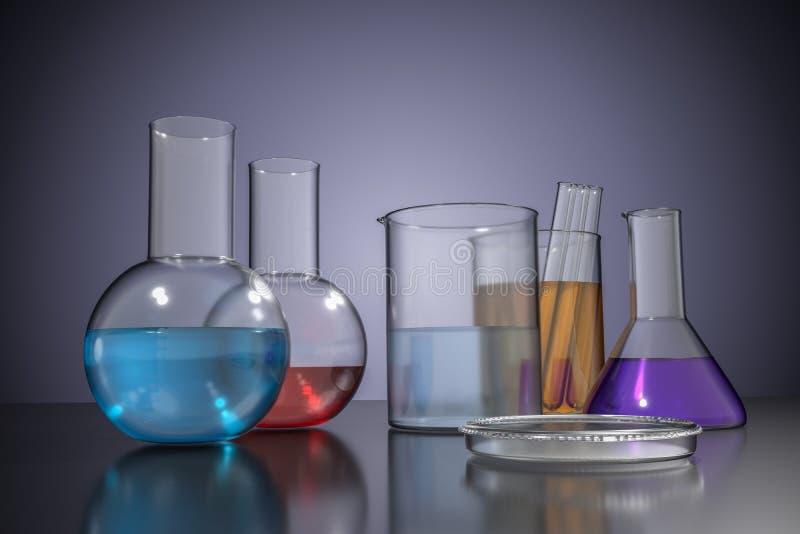 3D rendered illustration of chemical laboratory glassware.  vector illustration