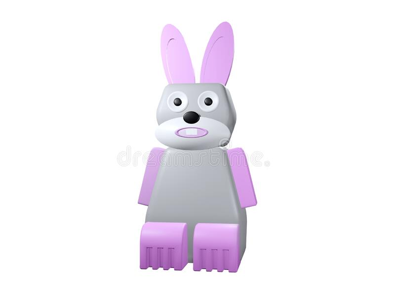 3d rendered illustration of a cute bunny isolated. Rabbit robot cartoon. 3d rendered illustration of a cute bunny isolated.  Rabbit robot cartoon character royalty free illustration