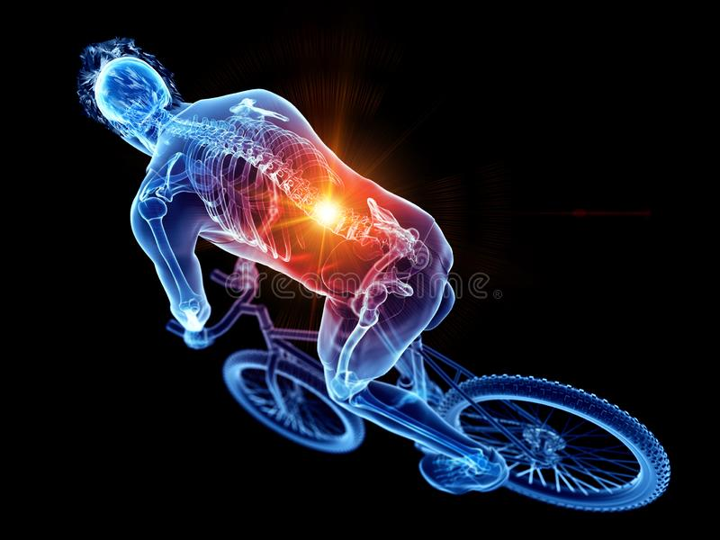 A cyclists painful back royalty free illustration