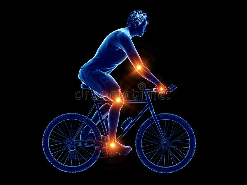 a cyclists painful joints vector illustration