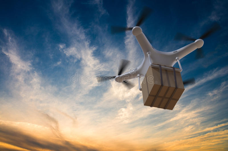 3D rendered illustration of drone flying in the sky and delivering a package at sunset.  royalty free illustration