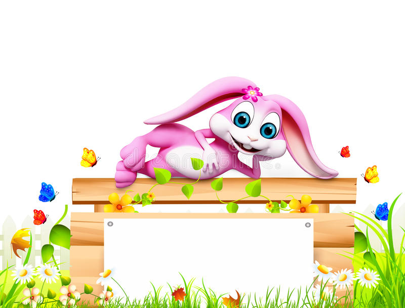 Easter bunny sleeping on the big sign stock illustration