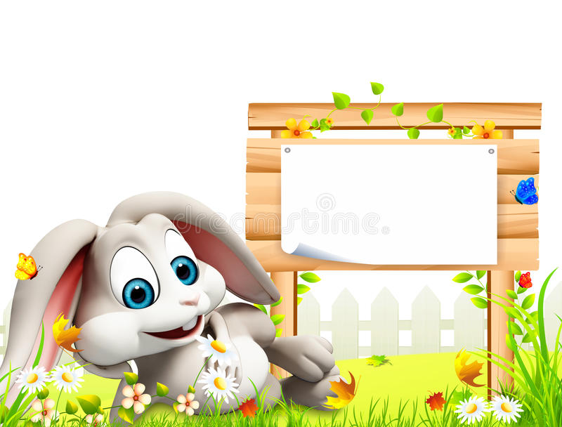 Easter bunny sleeping inside the garden with sign stock illustration