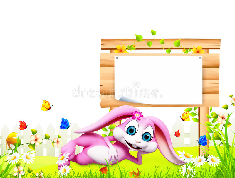Easter bunny sleeping near big sign royalty free illustration
