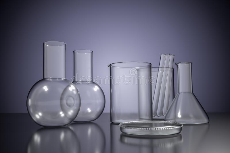 3D rendered illustration of empty chemical laboratory glassware.  vector illustration