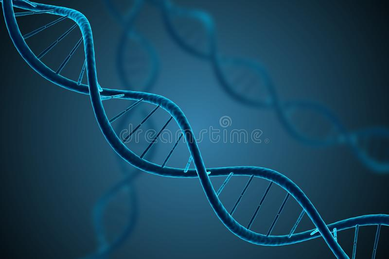 3D rendered illustration of glowing DNA molecule. Genetics and microbiology. 3D rendered illustration of glowing DNA molecule. Genetics and microbiology concept royalty free illustration