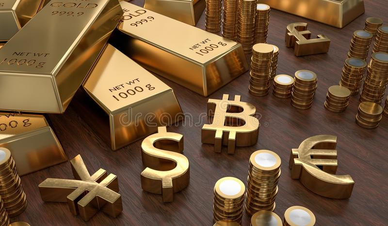 3D rendered illustration of gold bars and golden currency symbols. Stock exchange and banking concept vector illustration