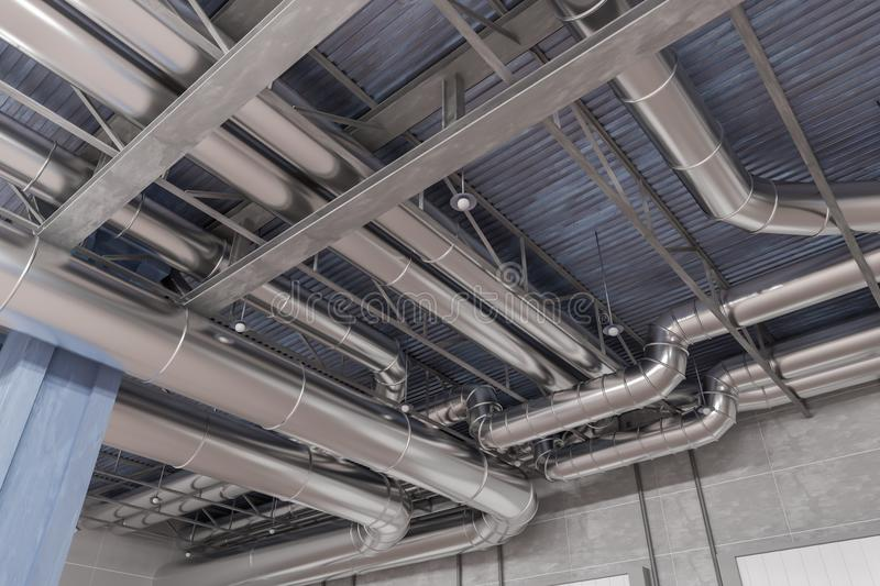 3D rendered illustration of HVAC system and pipes stock images