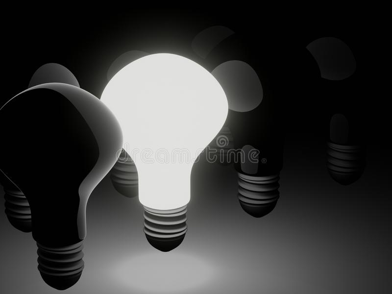 3D rendered image of shining bright among off light bulbs on black background vector illustration