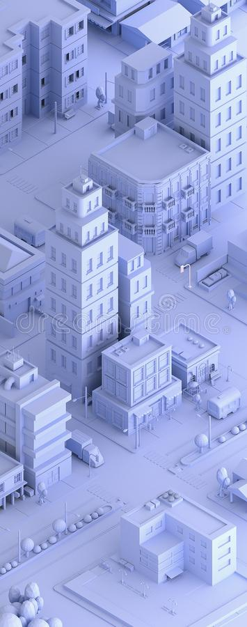 3d rendered illustration of a isometric city stock illustration