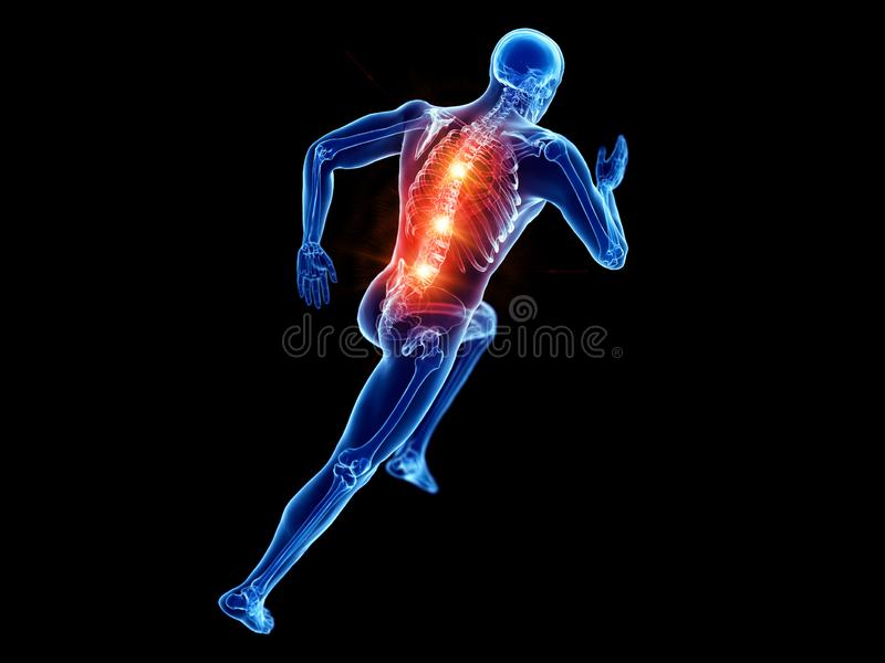 A joggers painful back. 3d rendered illustration of a joggers painful back vector illustration