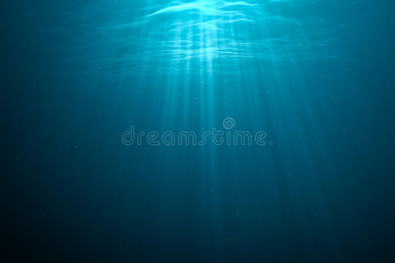 3D rendered illustration of light rays underwater.  stock illustration
