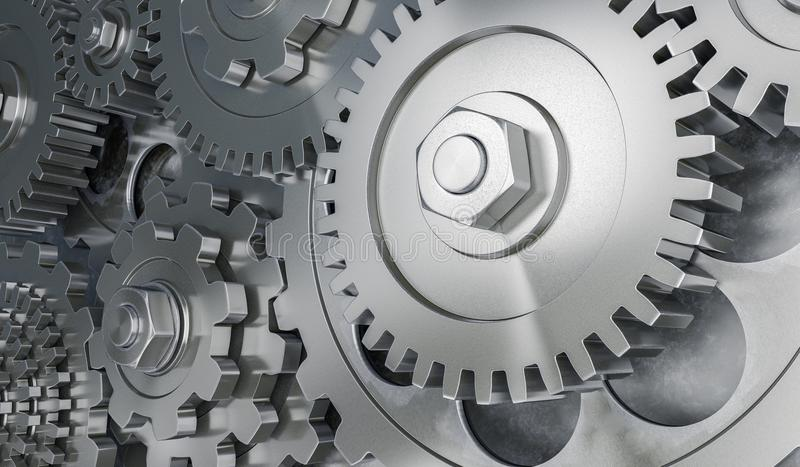 3D rendered illustration of metallic gears and cogs.  royalty free illustration