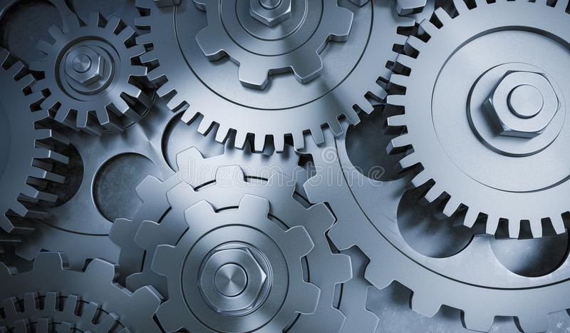 3D rendered illustration of metallic gears and cogs.  stock illustration