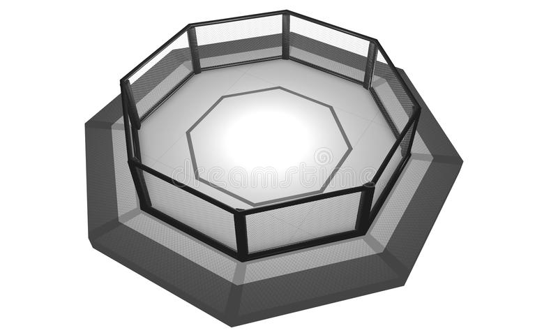 3D Rendered Illustration of an MMA fighting cage arena. 3D Rendered Illustration of an MMA, mixed martial arts, fighting cage arena stock illustration