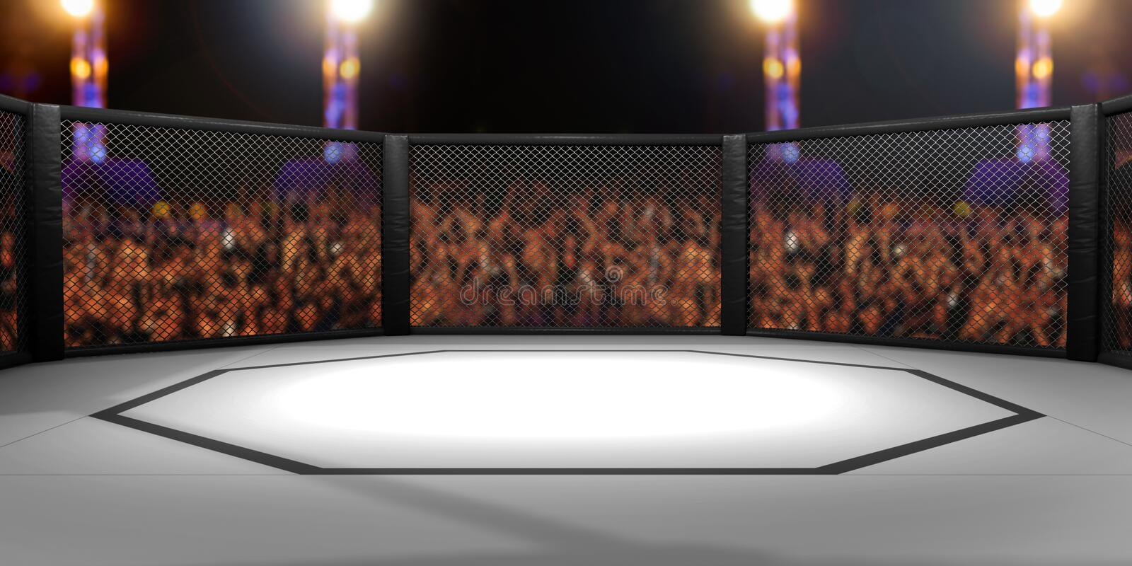 3D Rendered Illustration of an MMA, mixed martial arts, fighting cage. Arena stock illustration