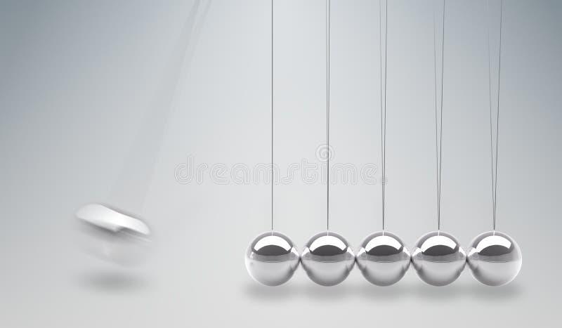 3D rendered illustration of Newtons cradle - balancing balls.  stock illustration