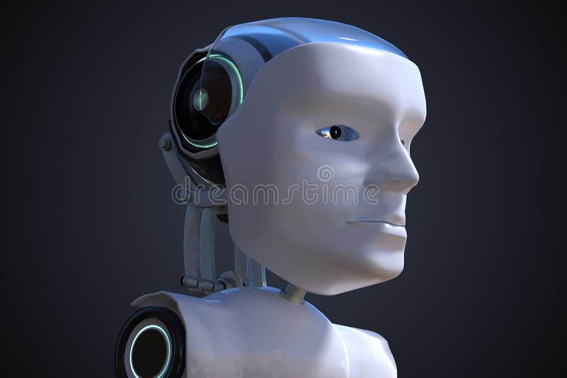 3D rendered illustration of robotic head. Artificial intelligence concept stock illustration