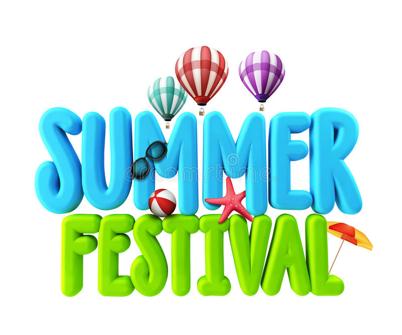 3D Rendered Illustration of Summer Festival Word Title. In White Background for Promotional with Flying Balloons, Colorful Umbrella, Beach Ball, Starfish and royalty free illustration