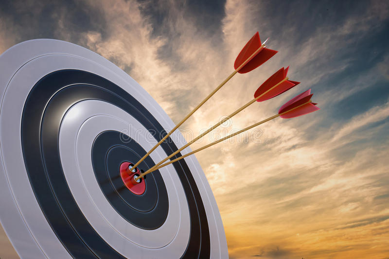 3D rendered illustration of target with arrows at sunset.  vector illustration