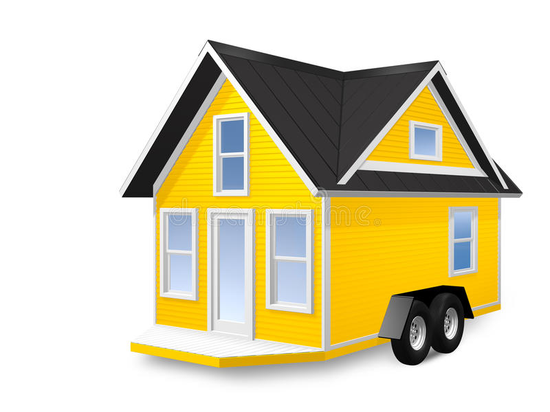 3D Rendered Illustration of a tiny house on a trailer. House is isolated on a white background royalty free illustration