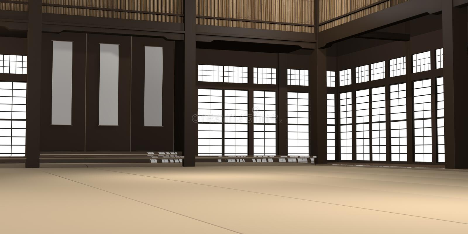 3d rendered illustration of a traditional karate dojo or school with training mat and rice paper windows. 3d rendered illustration of a traditional karate dojo stock illustration