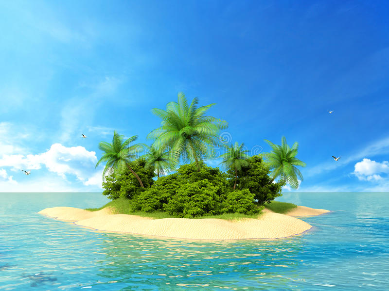 3d rendered illustration of a tropical island.  royalty free illustration