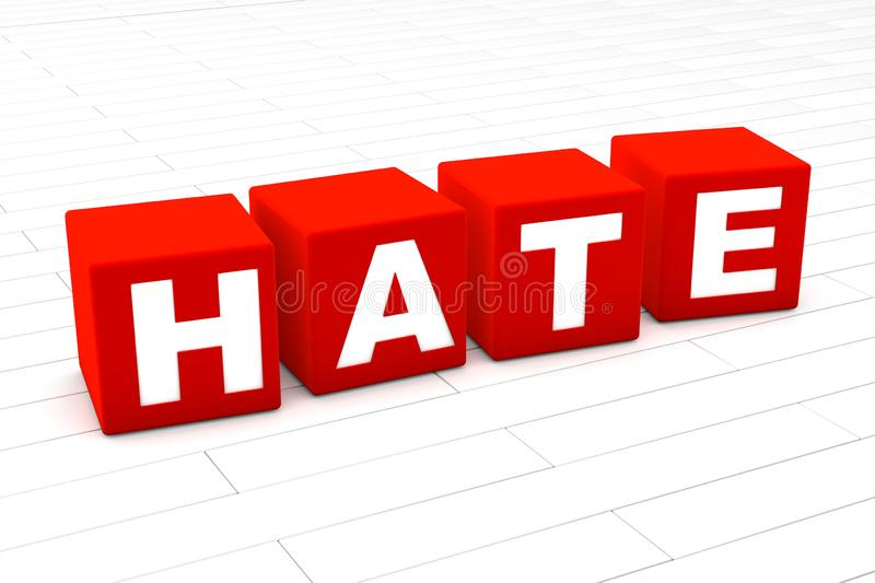 Hate word. 3D rendered illustration of the word Hate.r vector illustration